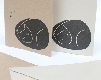100%  recycled greetings cards with original lino print design