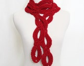 Crocheted Loopy Scarf in Red