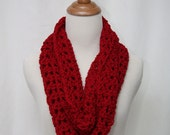 Red Infinity Crochet Scarf