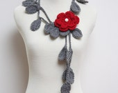Crocheted Grey Leaf Necklace with Red Flower Brooch