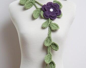 Crochet Lariat/Necklace in Fern Green with Purple Flower Brooch