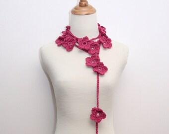 Crocheted Dark Pink Daisy Flower Necklace/Scarf/Lariat