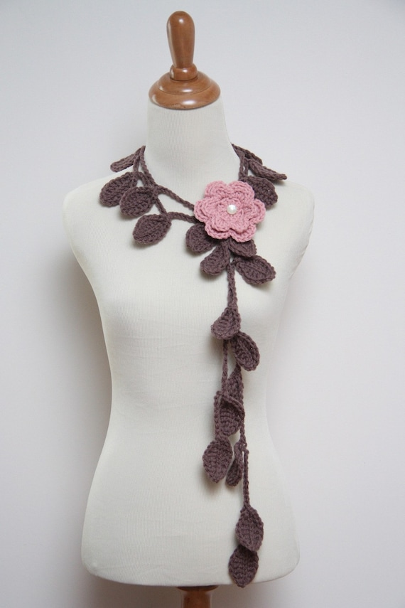 Crocheted Taupe Leaf Necklace with Rose Pink Flower Brooch