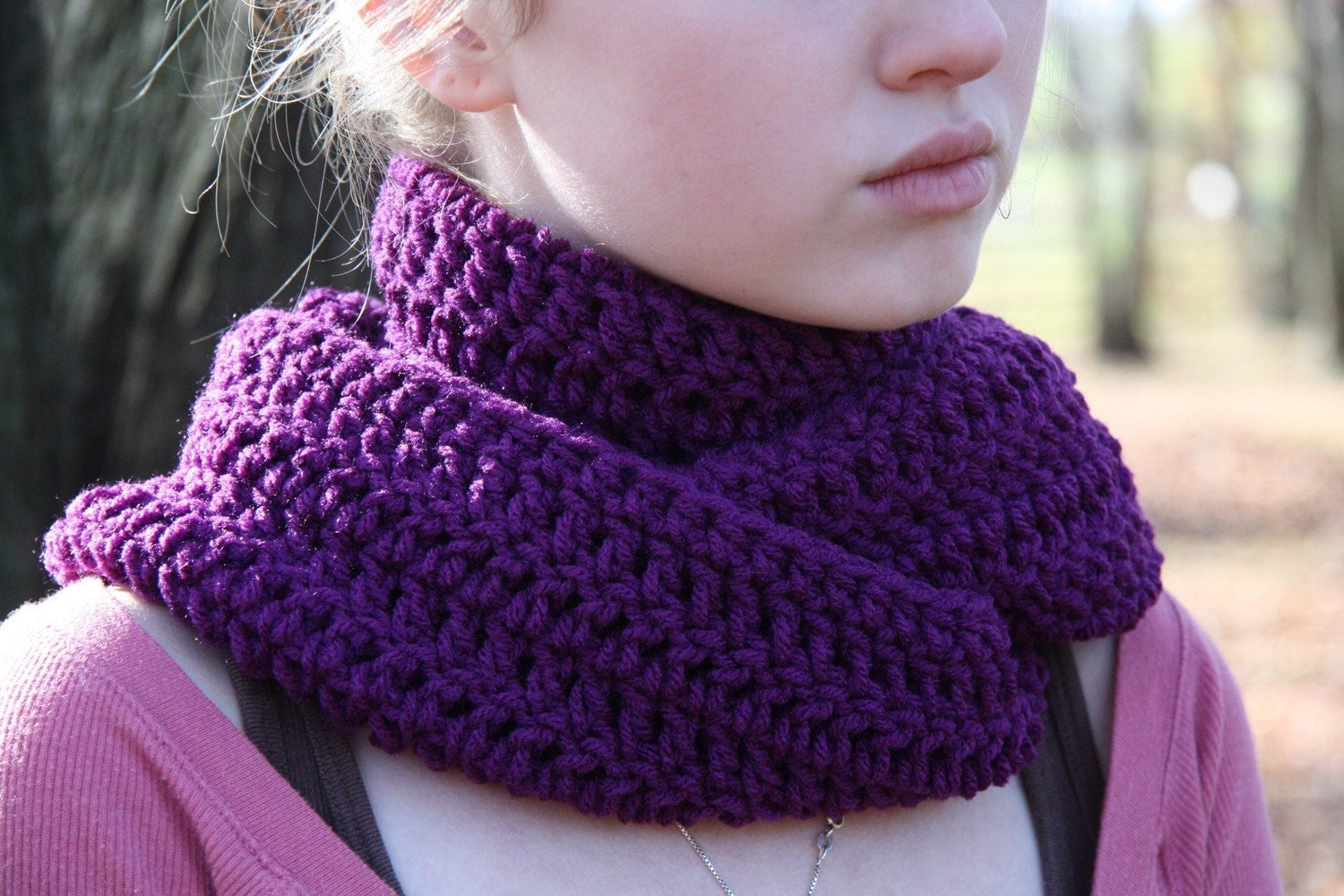 Dark Purple Crocheted Eternity Cowl Neck Scarf by HandmadeByLarrie Cowl Neck Scarves Crochet