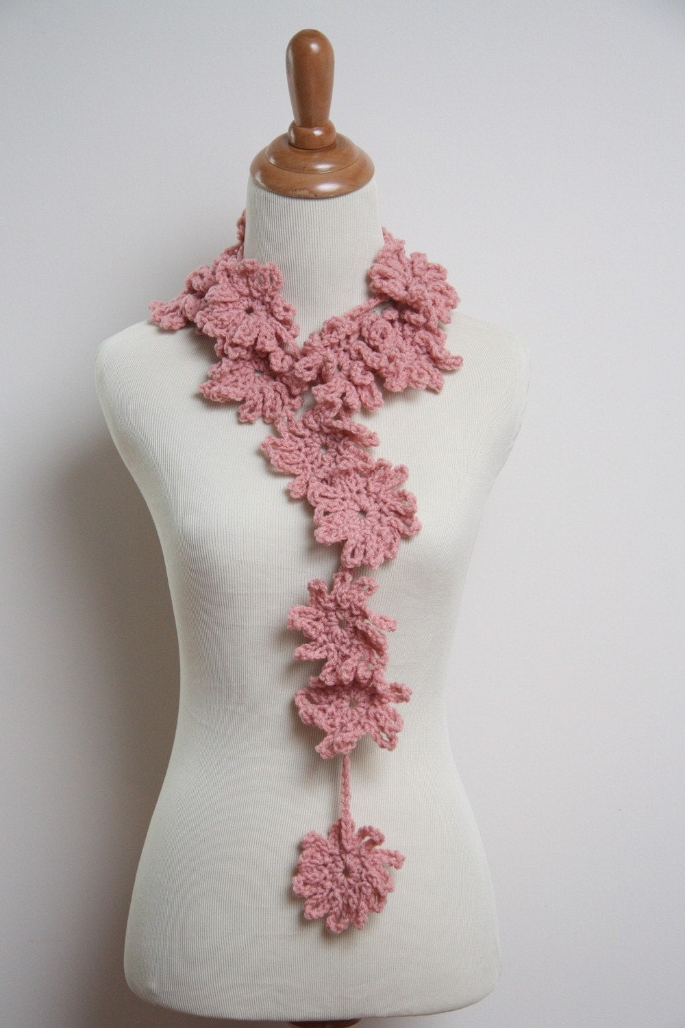 Crochet Flower Scarf in Rose Pink by HandmadeByLarrie on Etsy Crochet Flower Scarves