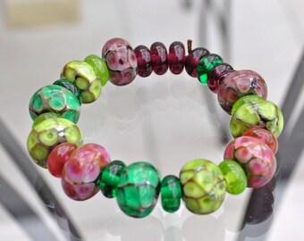 Lampwork glass Silvered Beads