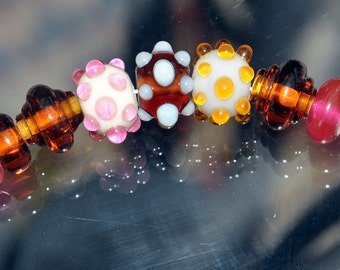 Lampwork Bumpy beads in Bullseye