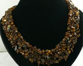 Amazing handmade tigers eye stone nugget necklace
