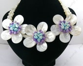Fashion handmade sea shell 3flowers gemstone beads necklace shell clasp