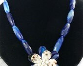 Amazing handmade blue faceted agate nugget stone beads---agate flower stone necklace---gemstone beads necklace