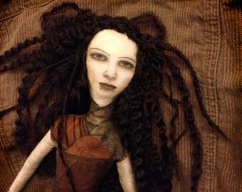 Amelia: Photographic, mixed media gothic art doll