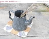 ON SALE Small Grey Enamel Pitcher, Coffee Pot