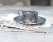 Silver Tea Glass Holder, Cup and Saucer