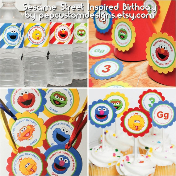 DIY -  Printable: Customized Sesame Street Party Set -  12 items
