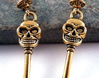 Skull Earrings Skeleton Key Gold Earrings Metal Earrings Key Jewelry Skull Jewelry Gold Jewelry Metal Jewelry Beaded Jewelry