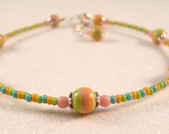 Gemstone Anklet Beaded Anklet Ankle Bracelet Gemstone Jewelry Beaded Jewelry Turquoise Anklet Turquoise Jewelry Pink Jewelry Orange Jewelry