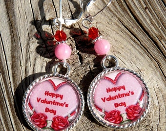 Valentine Earrings Tile Earrings Valentine Jewelry Holiday Earrings Holiday Jewelry Beaded Jewelry Heart Jewelry