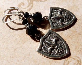 Fleur de Lis Earrings Silver Shield Fleur de lis Jewelry Silver Jewelry Beaded Jewelry Beaded Earrings Metal Earrings