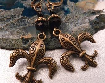 Fleur de Lis Earrings Brass Earrings Fleur de Lis Jewelry Brass Jewelry Beaded Earrings Beaded Jewelry Brass Fleur de Lis  Metal Jewelry