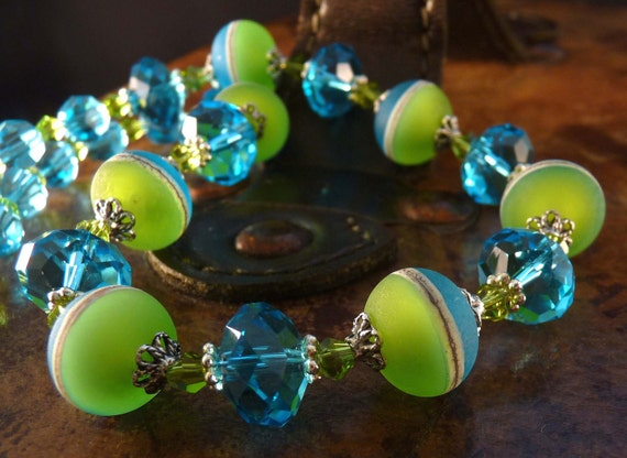 Lampwork Necklace Crystal Necklace Lime Jewelry Turquoise Jewelry Lampwork Jewelry Beaded Jewelry Crystal Jewelry Lampwork Earrings