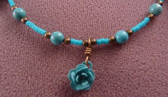 Turquoise Anklet Beaded Ankle Bracelet Brass Anklet Turquoise Jewelry Brass Jewelry