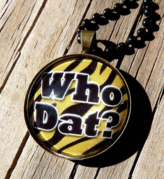 Reserved for Coniie Glass Tile Necklace New Orleans Saints Who Dat Necklace Tiger Stripe Jewelry Football Jewelry Sports Jewelry