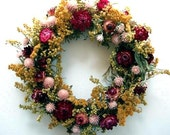 Pretty Natural Dried Flower Wreath Gold Pink