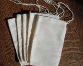 MUSLIN Drawstring BAGS 15  3x5 Natural Cotton Drawstring for Sachets, Gift, Wedding, Decorating, Crafts, packaging, favor, party bags