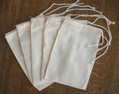 60  4x6 Cotton Muslin Drawstring Bags for sachets, potpourri, stamping, gifts, crafts, etc.