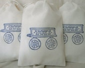 Childrens GIFT Bags 10 TOYS Wagon 4x6 Cotton Muslin Drawstring Bags for gift, shower, favor, party,...