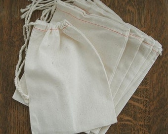 "10 Natural LARGE 8"" x 9.5"" Cotton Muslin Drawstring Bags for decorating, gifts, crafts, packaging"