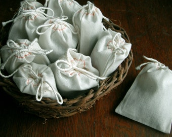 "Wedding Toss 40 FRAGRANT LAVENDER Filled Bags Bridal Shower Favors 3 x 4"" Natural Cotton Muslin Drawstring Bags"