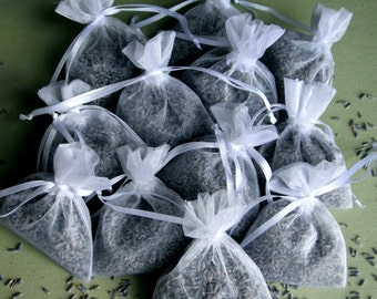 "Wedding toss Bags 80 FRAGRANT LAVENDER flower buds Filled  3 x 4"" White Organza Drawstring Bags shower wedding gift throw"