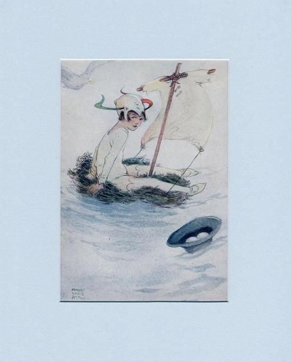 Lovely Peter Pan & Wendy Raft Bird 1921 Print by Attwell