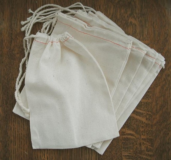 "5 Natural LARGE  8"" x 11.5""  Cotton Muslin Drawstring Bags for decorating, gifts, crafts, packaging"