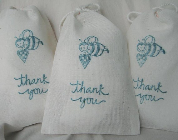 "20  3 x 5"" Thank you Bumble Bee Cotton Muslin Drawstring Bags for gift, wedding, shower, favor, party,..."