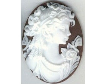 30x40 resin cameo brown white victorian greek roman style woman cabochon embellishment bauble jewelryfinding from cameo jewelry 154a