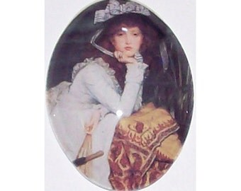 40x30 Photo glass cameo Girl with Bonnet cameo glass Cabochon jewelry findings photo cameo jewelry findings  224x
