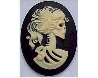 lolita 40x30 gothic lolita Skull Cameo sweet lolita Day of the Dead skeleton cabochon Zombie cameo supply punk nymphet fairy kei 269x