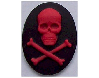 Zombie Black and Red Skull Skeleton resin Pirate Cameo 40x30mm Nautical Halloween supply 306x