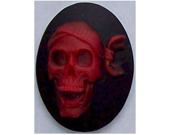 Pirate Black and Red Skull Skeleton resin Pirate Halloween Cameo 40x30mm jewelry findings 310x