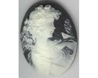 Cabochon victorian style cameo black white lady with bird cabochon 40x30mm jewelry supply 365q