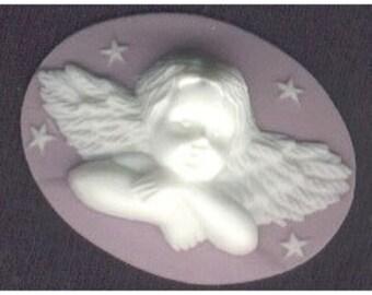 lilac angel or cherub resin cameo 40x30mm  cameo jewelry supply 981r