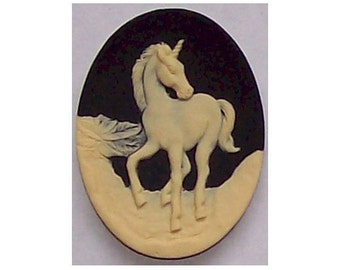 mythological 40x30 resin unicorn cameo ivory on black cabochon fantasy horse jewelry findings Cameo jewelry supply 263x