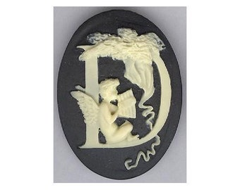 Alphabet resin cameo black ivory letter D cameo with cherub angel cabochon 40x30mm  make your own needle minder or personalized jewelry 140x
