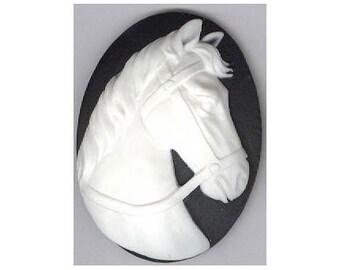 horse cameo equestrian cameo horse cabochon 40x30mm flat back resin cab 930q