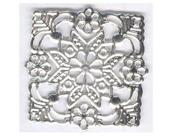Silver square filigree 39x39mm-item 996q