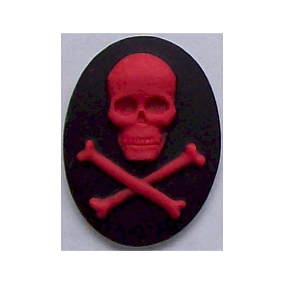 Zombie Black and Red Skull Skeleton resin carribean Pirate Cameo 40x30mm Nautical Halloween supply 306x