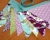 BUNTING, Fabric Flag Banner, Garland, Pennant Home or Nursery Decor, Photo Prop - Aviary 2 in Purple, Lilac, Olive, Aqua - 9.5 Feet 10 flags