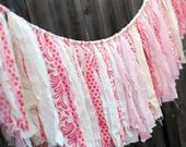 Spring Romance Vintage Inspired Shabby Torn Fabric Rag Garland Banner Bunting, Wedding Party Decor, Photo Prop  6 Feet - Cream Pink Rose